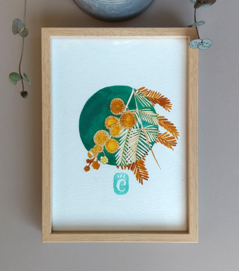 Dessin original à l'encre colorée // Mimosa // série Fleurs hivernales // 13 x 18cm