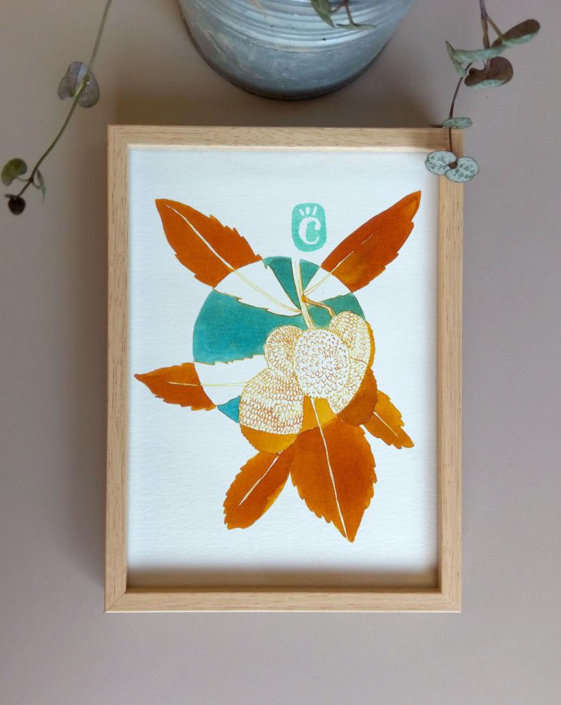 Dessin original à l'encre colorée - oeuvre unique - Arbousier - série Fleurs hivernales