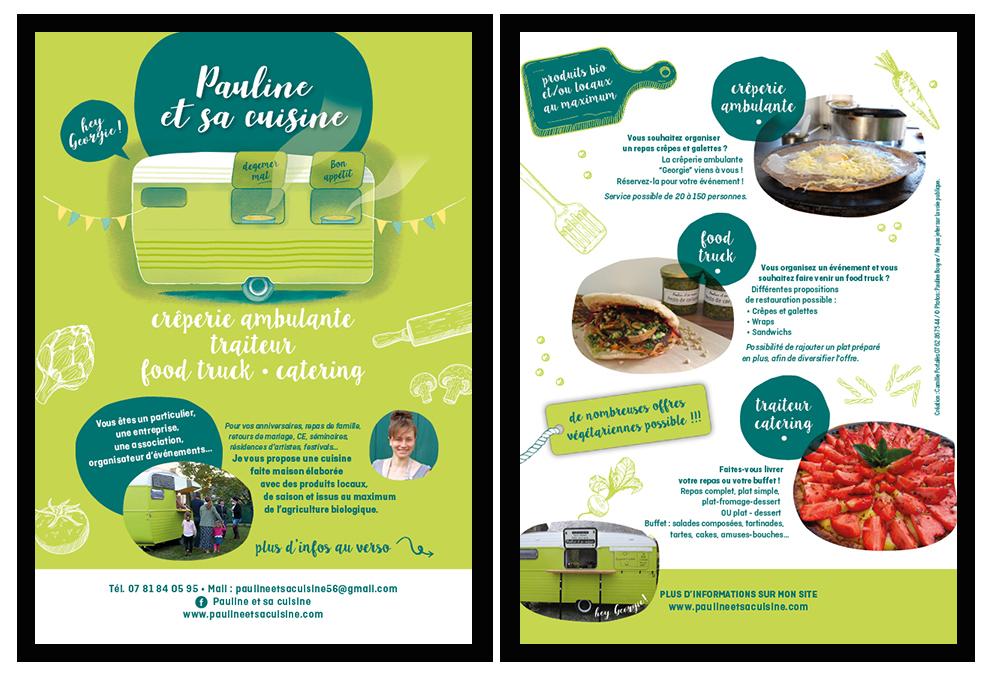 création flyer Pauline et sa cuisine, food truck, traiteur, catering